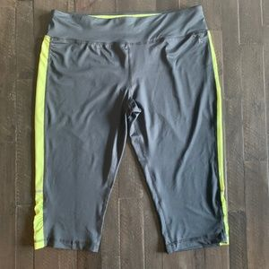 Gray and Lime Green Workout Capris